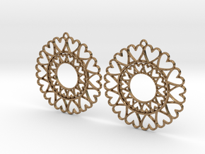 Circle Hearts Earrings in Natural Brass