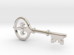 Kappa Key Pendant in Rhodium Plated Brass