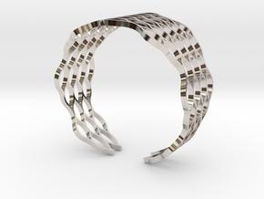 Mesh Bracelet - Large in Rhodium Plated Brass