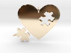 Heart Puzzle Pendants in 14k Gold Plated Brass