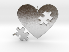 Heart Puzzle Pendants in Natural Silver