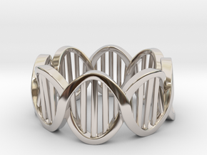 DNA Ring (Size 11) in Rhodium Plated Brass