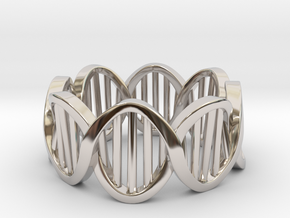 DNA Ring (Size 9) in Rhodium Plated Brass