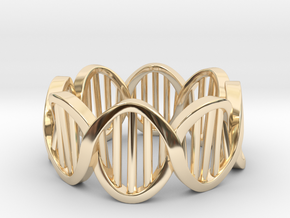 DNA Ring (Size 7) in 14k Gold Plated Brass