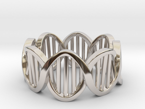 DNA Ring (Size 7) in Rhodium Plated Brass