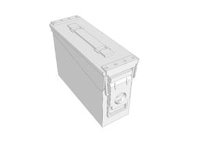 1:6 scale 30 .cal ammo BOX can x1 in White Natural Versatile Plastic