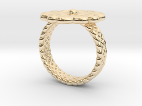 Floral Ring - Size 7 in 14k Gold Plated Brass