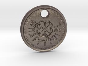 ZWOOKY Style 70 Sample - keychain cloverleaf in Polished Bronzed Silver Steel