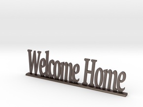 """Letters 'Welcome Home' - 7.5cm / 3"""" in Polished Bronzed Silver Steel"""