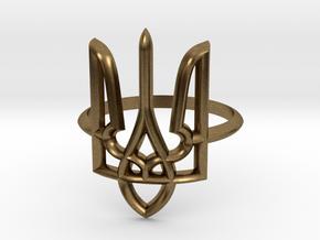 Ukrainian Trident Ring. US 6.0 in Natural Bronze