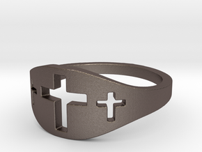 Cross Trio Ring Size 7 in Polished Bronzed Silver Steel