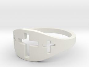 Cross Trio Ring Size 7 in White Natural Versatile Plastic
