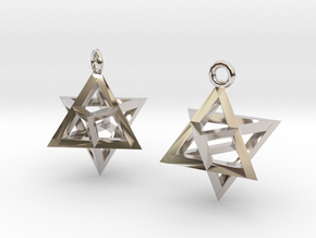 Star Tetrahedron earrings #Gold in Rhodium Plated Brass