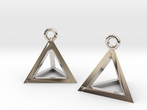 Tetrahedron earrings #Silver in Rhodium Plated Brass