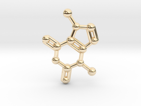 Theobromine (Chocolate) Molecule Necklace / Keycha in 14k Gold Plated Brass
