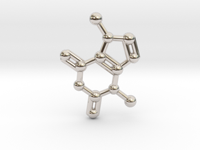 Theobromine (Chocolate) Molecule Necklace / Keycha in Rhodium Plated Brass
