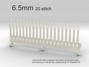 20 Tine Knitting Garter Bar - 6.5 mm V2 in White Processed Versatile Plastic