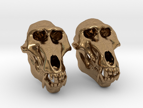 Baboon Skull Earrings - closed jaw in Natural Brass