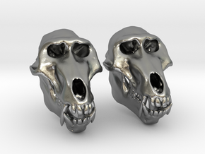 Baboon Skull Earrings - closed jaw in Natural Silver