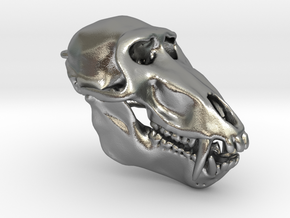 Baboon Skull pendant (closed jaw version) in Natural Silver