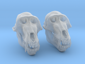 Baboon Skull Earrings - closed jaw in Smooth Fine Detail Plastic