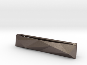 Origami Tie Clip in Polished Bronzed Silver Steel