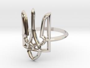 Ukrainian Trident Ring. US 5.0 in Rhodium Plated Brass