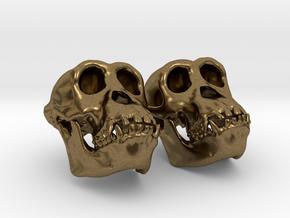 Chimpanzee Skull Earrings (Vertical Loop 25mm)  in Raw Bronze
