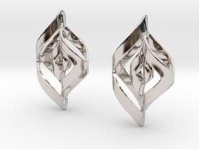 Swirl Design Earrings in Rhodium Plated Brass