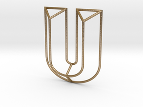 U Typolygon in Polished Gold Steel