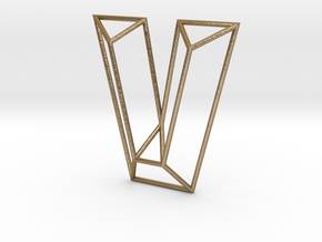 V Typolygon in Polished Gold Steel