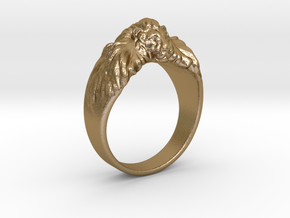 Lion Ring in Polished Gold Steel