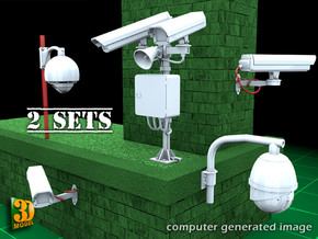 Surveillance cameras (double pack) in Smooth Fine Detail Plastic
