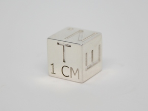 1 CM Photo Scale Cube in Fine Detail Polished Silver