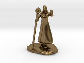 Female Dragonborn Wizard in Robe with Staff in Natural Bronze