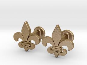 'Firenze' (fleur de lys) Cufflinks in Polished Gold Steel