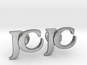Monogram Cufflinks JC in Natural Silver