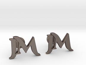 Monogram Cufflinks JM in Polished Bronzed Silver Steel