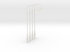 Four single station lights - O scale  in White Natural Versatile Plastic