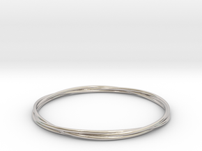 Three loops bangle in Rhodium Plated Brass