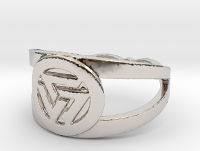 Valknut insignia ring Ring Size 7 in Rhodium Plated Brass