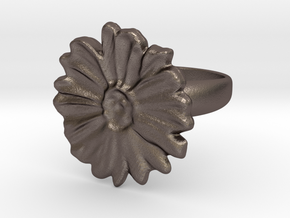 a daisy flower ring in Polished Bronzed Silver Steel