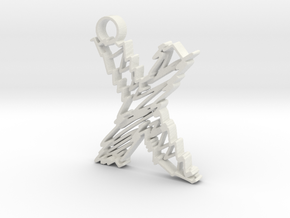 "Sketch ""X"" Pendant in White Natural Versatile Plastic"