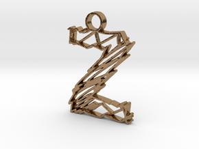 """Sketch """"Z"""" Pendant in Natural Brass"""