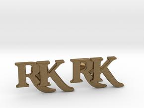 Monogram Cufflinks RK in Natural Bronze
