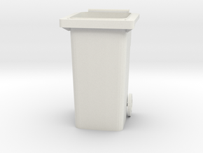 """Modern Garbage Can for 6"""" figures in White Natural Versatile Plastic"""