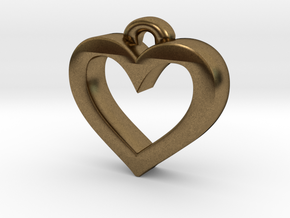Heart Frame Pendant in Natural Bronze