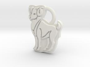 Aries Ram Ring Tag in White Natural Versatile Plastic