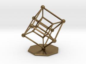 Hypercube in Raw Bronze