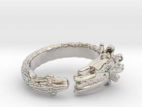 Anillo Quetzalcoatl in Rhodium Plated Brass